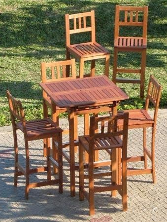 """5pc Outdoor Wood Patio Bar Furniture - Extendable by Pebble Lane Living. $599.99. Outdoor Patio Bar Stool Dims:18"""" x 16.5"""" x 45.5"""". Seat Height is 29"""". 1 Extendable Table: Dimensions: 31.5"""" x 31.5"""" x 44"""". Includes 4 Outdoor Patio Bar Stools. Table Extended: 47"""" x 31.5"""" x 44"""". Some Assembly required, additional chairs sold separately, 2 umbrella holes (1.75"""")"""