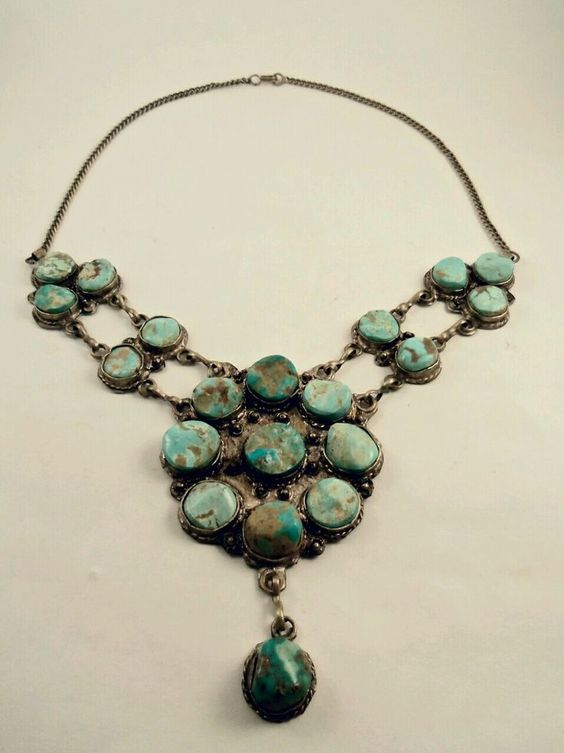 Antique turquoise and bronze statement necklace