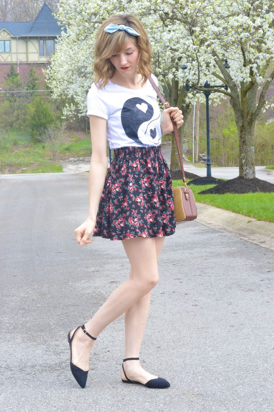 yin and yang crop top with floral and vintage from alittlelau.com