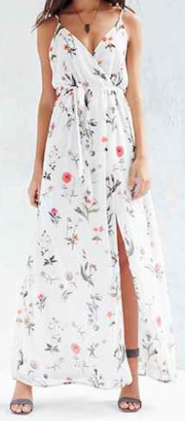 such a pretty floral print maxi dress