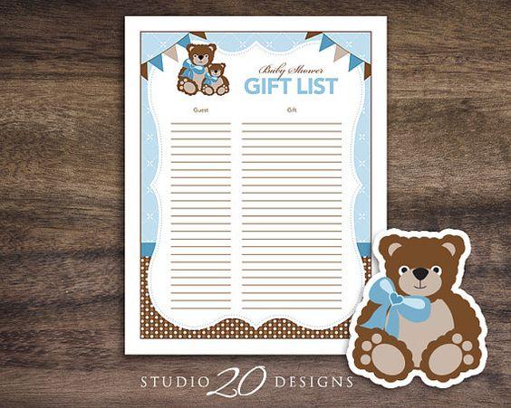 Instant Download Teddy Bear Baby Shower Gift List, Gift Tracker ...