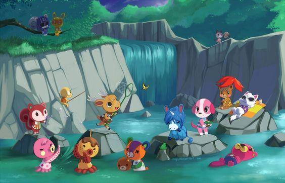 Animal Crossing Waterfall