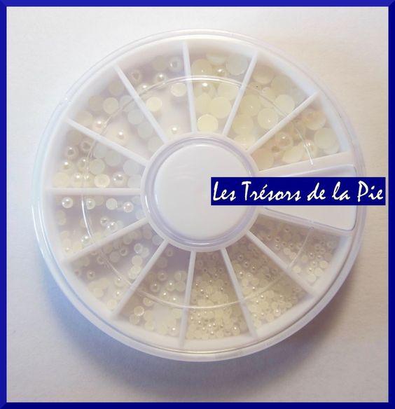 PERLES CRISTAL 3D ONGLES - Nail art - RONDS - 0,5, 1, 3 et 4mm - Blanc irisé