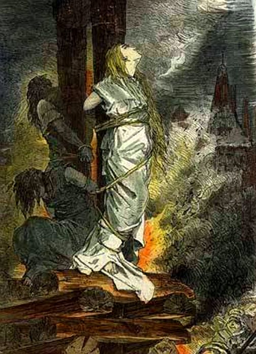 Franz, Gottfried (b,1846)- Woman (Witch) Being Burned at Stake