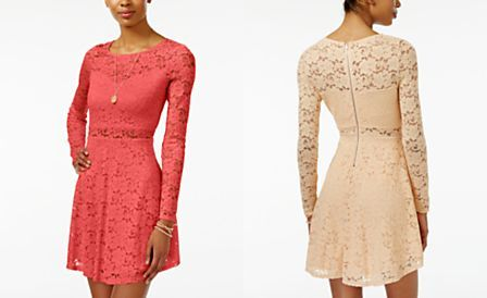Material Girl Juniors' Lace Illusion Skater Dress, Only at Macy's