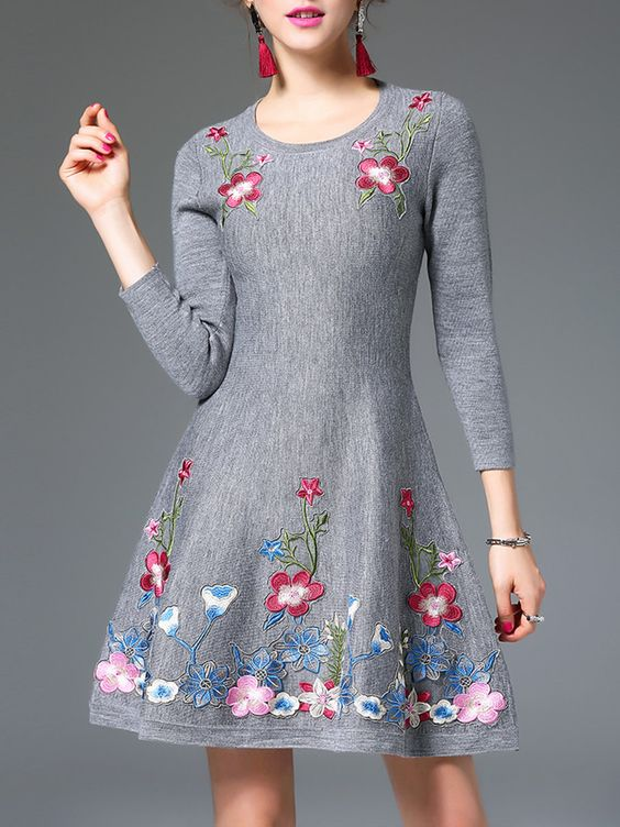#AdoreWe Jade&Cloud A-line Casual Embroidered 3/4 Sleeve Mini Dress - AdoreWe.com