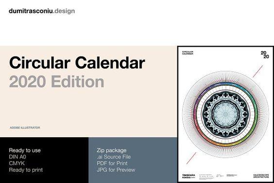 Circular Calendar 2020 Edition Presentation Design Template Calendar 2020 Calendar