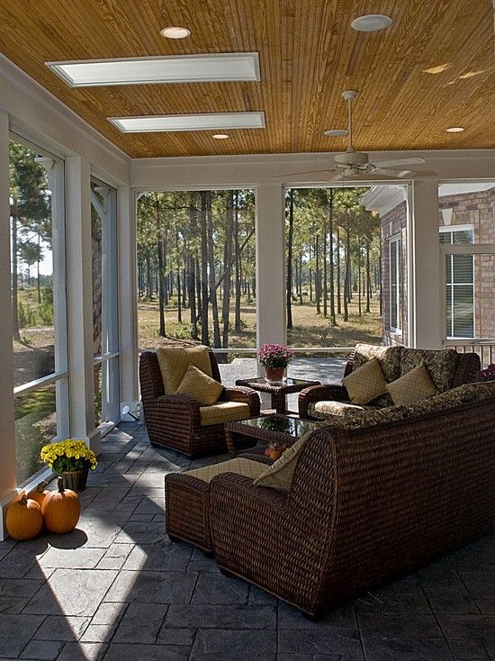 Stamped Concrete Screened Porches : Screened back porches and decorative concrete on