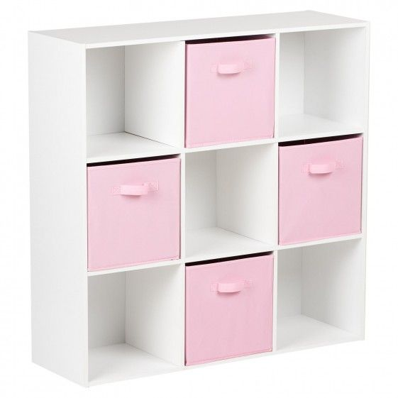 9 Cube Storage Unit And Drawers White And Pink Cube Storage