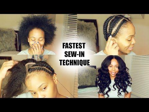How To Do Full Sew In In 10 Minutes Beginner Friendly Video Black Hair Information Sew In Hair Extensions Diy Hair Weave Hair Styles
