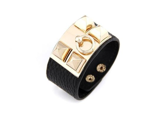 Bracelete de Couro com metal dourado Dáli Acessórios