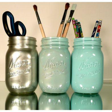 Paint inside of a mason jar and now you 39 ve got cute pencil for Mason jar holder ideas
