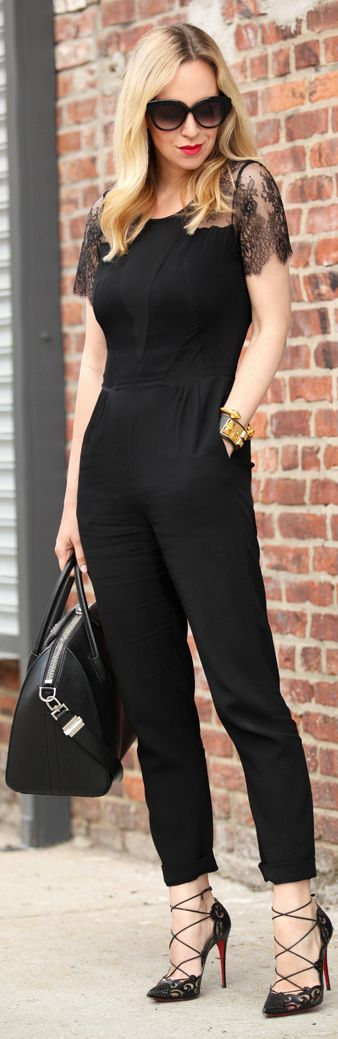 Sandro Black Tailored Women's Lace Shoulder Jumpsuit by Brooklyn Blonde: