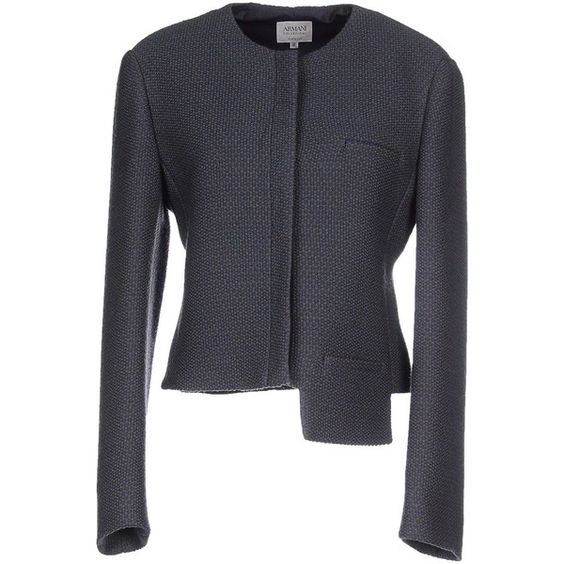 Armani Collezioni Blazer ($585) ❤ liked on Polyvore featuring outerwear, jackets, blazers, blue, blue tweed blazer, armani collezioni jacket, single breasted jacket, blue blazer and tweed blazer