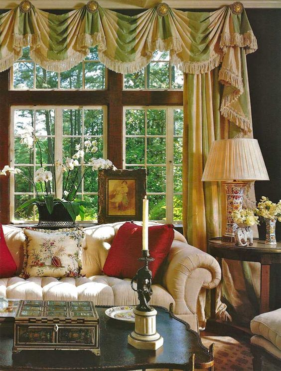Traditional decor. Love the curtain treatment: