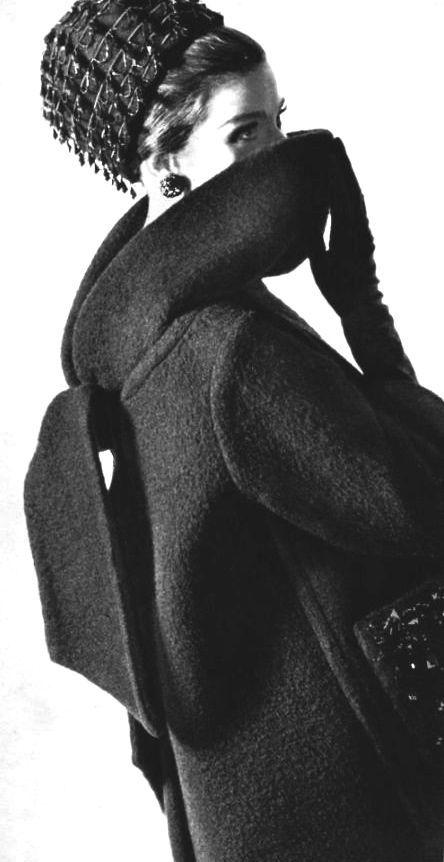 French fashion 1960's, mode, Haute couture, Paris, 1963 - Jacques Griffe coat - gem embellished pillbox hat