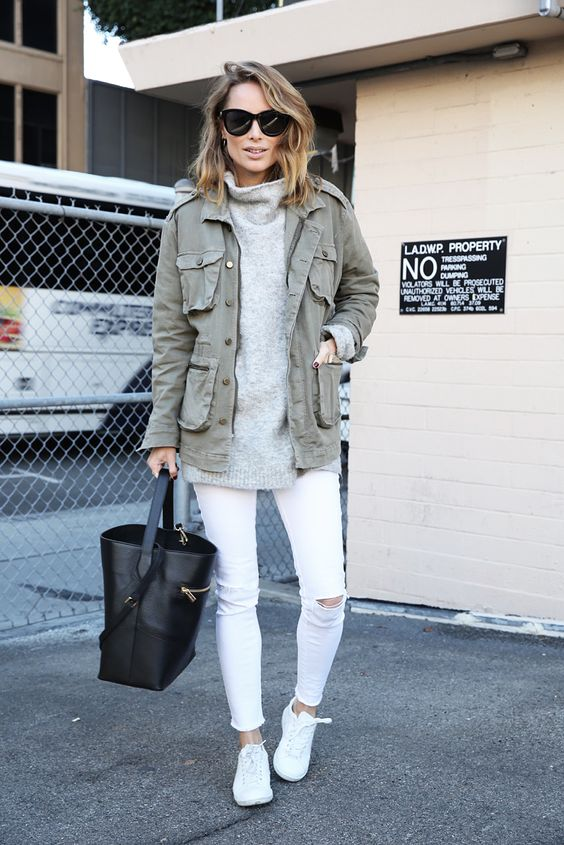 army style jacket turtleneck white jeans cute fall fashion style