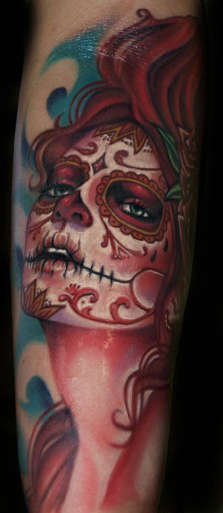 sugar skull tattoo arm sleeve tattooed divas pinterest i love the dead and sleeve. Black Bedroom Furniture Sets. Home Design Ideas