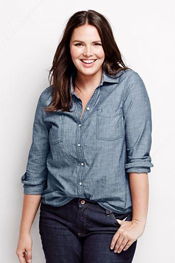 Plus size chambray shirt wardrobe wishlist pinterest for Plus size chambray shirt