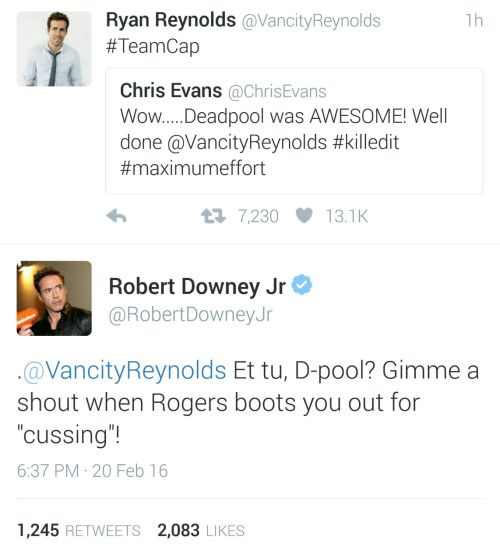 Avengers Civil War Deadpool Siding With Captain America - Ryan reynolds politely responds to fans dirty tweets and its just hilarious