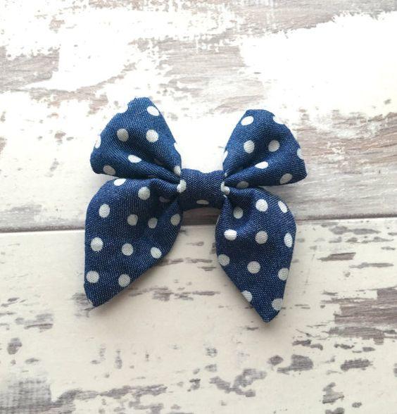 Denim Polka Dot Madeline Bow bow mini hair bow by LillyBelleMarket