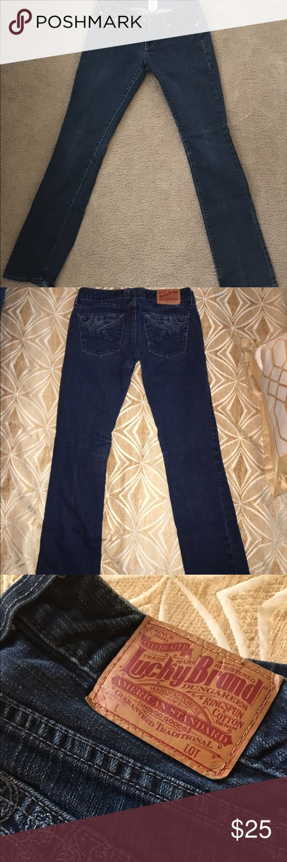 Lucky brand jeans size 26 Barely used lucky brand jeans! Since 2/26. A little flare on the bottom but a wonderful fit overall Lucky Brand Jeans Straight Leg