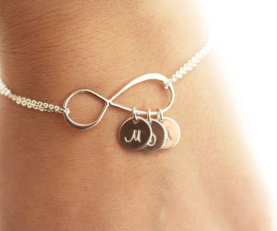 Someone (Belle) please tell my husband I NEED this - so beautiful   Personalized Infinity Bracelet Initial Bracelet by BijouxbyMeg, $32.00