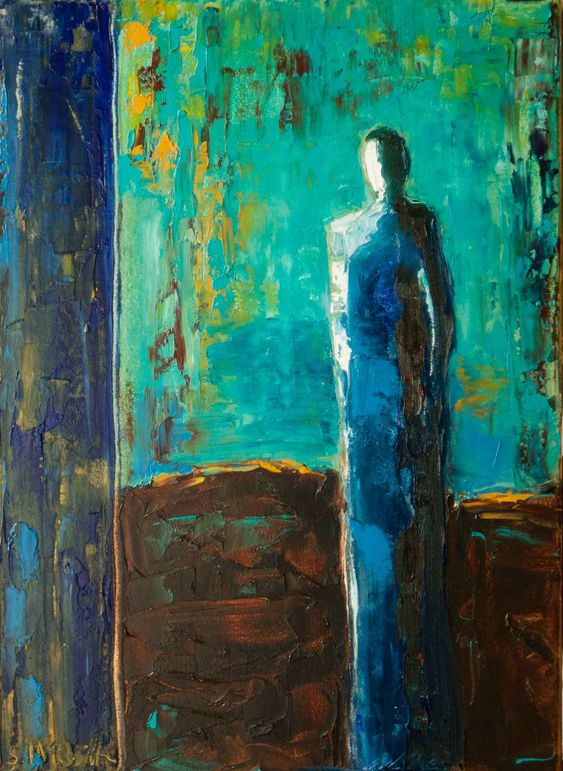 blue, abstract figurative, contemporary figurative, oil painting,
