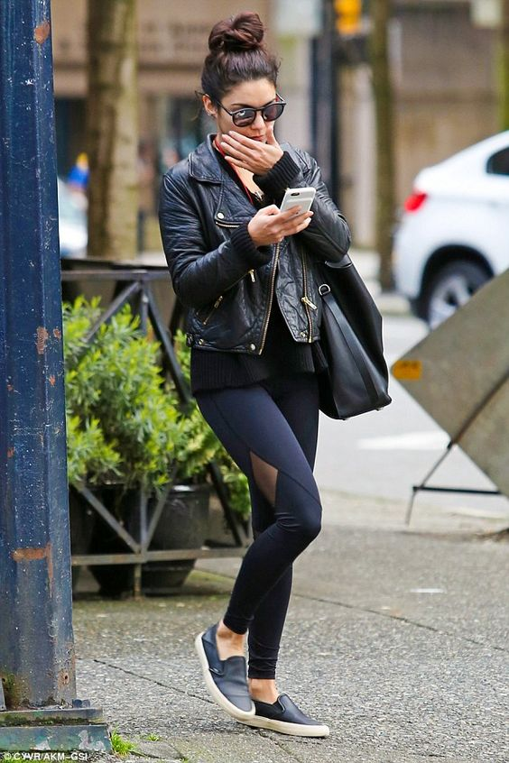 Vanessa Hudgens appears to be in a shy mood as she leaves yoga class in leather jacket and sheer panel leggings during break from filming Powerless | Daily Mail Online