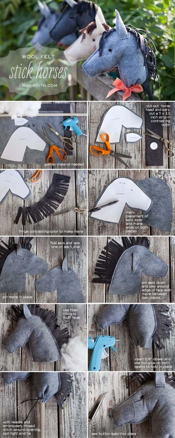 DIY Christmas Gifts for Kids - Homemade Christmas Presents for Children and Christmas Crafts for Kids | Toys,  Dress Up Clothes, Dolls and Fun Games |  Step by Step tutorials and instructions for cool gifts to make for boys and girls |  Wool felt Stick Horses  |  http://diyjoy.com/diy-christmas-gifts-for-kids