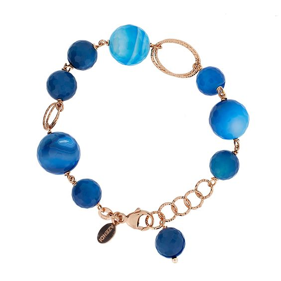 Blue Sardonyx  Bracelet with Rose Vermeil