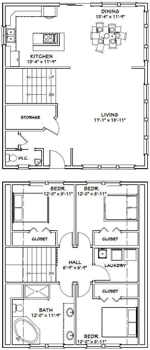 28x32 House 3 Bedroom 1 5 Bath Pdf Floor Plan 1 544 Sq Ft Model 4k 29 99 Picclick Shed Plans House Plans Garage Plans