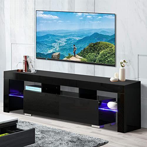 Best Seller Tv Stand Elegant Black High Gloss Led Light Glass Shelves Tv Cabinet Modern Tv Table 2 Drawers Console Durable Entertainment Center Black 63 Online In 2020 Console Furniture Modern Tv Tv Stand