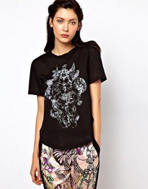Kore by Sophia Kokosalaki – T-Shirt mit drapiertem Ausschnitt Gr.S 85,35€