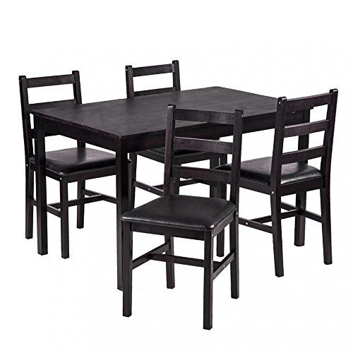 Fdw 5pcs Dining Table Set Pine Wood Kitchen Dinette Table With 4