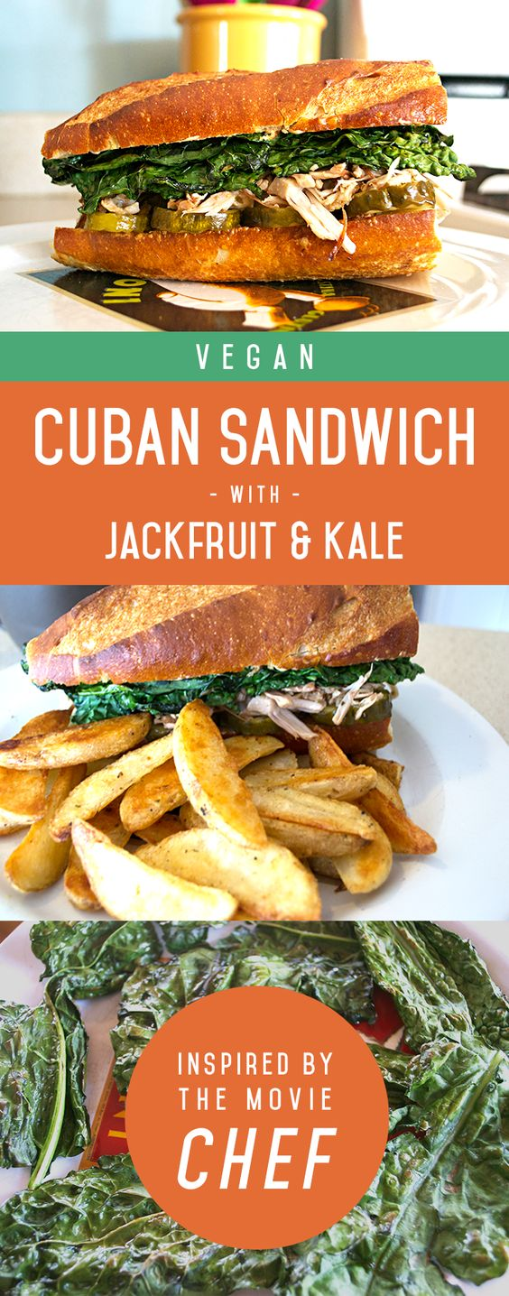 """A veganized and healthier version of a Cuban sandwich, inspired by the movie """"Chef""""! We use jackfruit and kale with some dijon mustard and pickles to make this a delicious lunch or dinner for vegans or meat eaters!   rootiful.com"""
