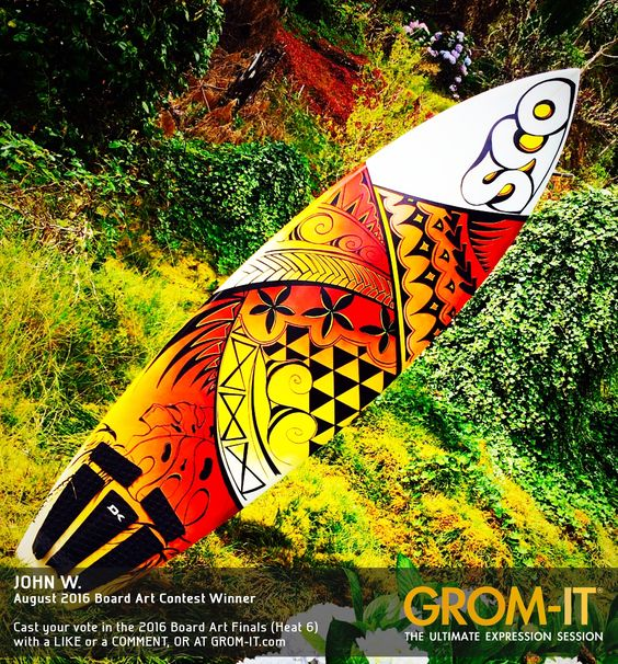Finalist 4 of 4 // Our 2016 Board Art FINAL (Heat 6) is now on! Cast your vote now through 9/15 for your favorite with a LIKE or COMMENT OR visit GROM-IT.COM to vote. Help us decide who will win the custom-shaped shortboard from @OrionSurfboards!  RULES: ONE comment per user counts as ONE vote and ONE like per user counts as ONE vote. Multiple comments per user is considering spamming and will not be counted towards finalist totals. Voting closes September 15 2016 at midnight (EST). #surfing…