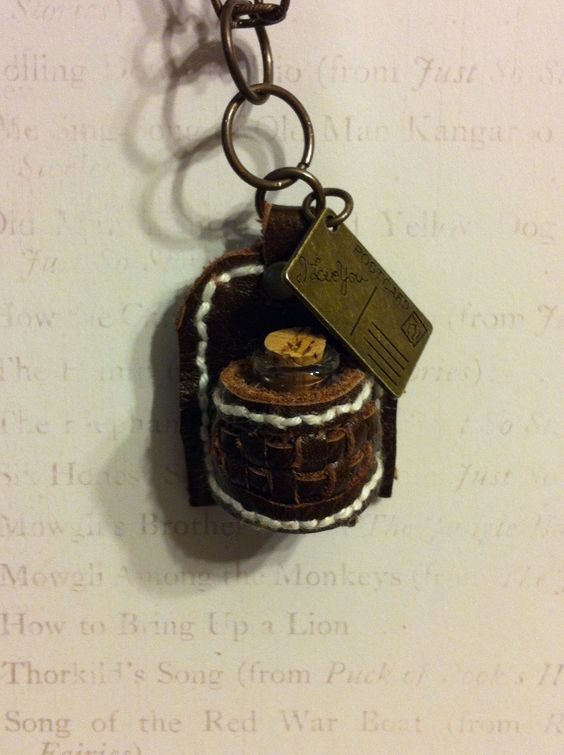 miniature leather water bottle case necklace