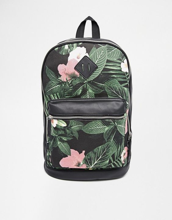 ASOS | ASOS – Schwarzer Rucksack mit Blumenmuster bei ASOS