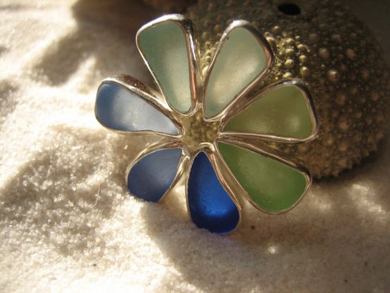 Sea Glass Brooch made with Fine Silver  and Genuine Sea Glass