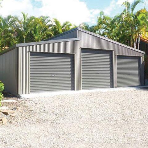 Double Garage With Horizontally Cladding 7m X 7m X 3m Genuine Colorbondsteel With Basalt Walls Woodland Grey Door Garage Door Styles Garage Double Garage