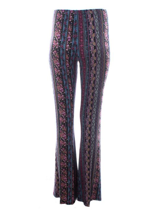 Dejavu Foulard Printed Flared Pants (Blue/Black) Flared and Flattering. The linear print in these flare bell bottoms elongates the leg and slims the thigh. Printed on this super soft knit fabric, these pants fits all shapes and sizes, while giving you the boho look.