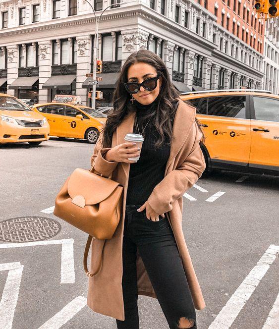 camel coat outfits gabriella zacche Fall inspo \ fall fashion \ fall style \ turtleneck \ jeans \ fendi bag \ gabriella zacche \ outfit ideas \ outfits \ new york \ street style \ camel coat