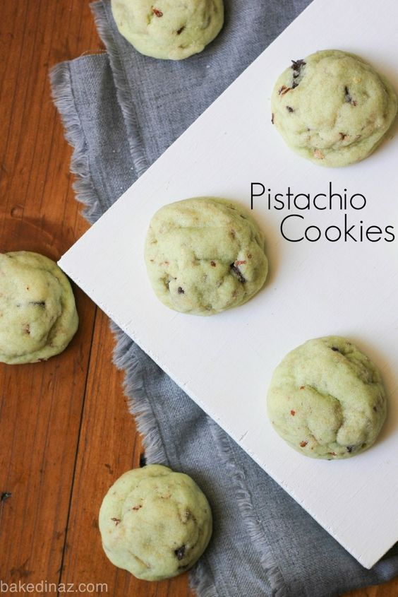 Pistachio Cookies - made with pistachio pudding mix, these cookies melt in your mouth! bakedinaz.com