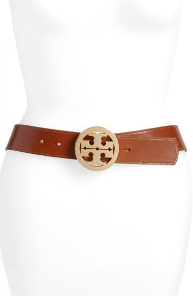 Tory Burch 'Logo' Glazed Leather Belt available at #Nordstrom