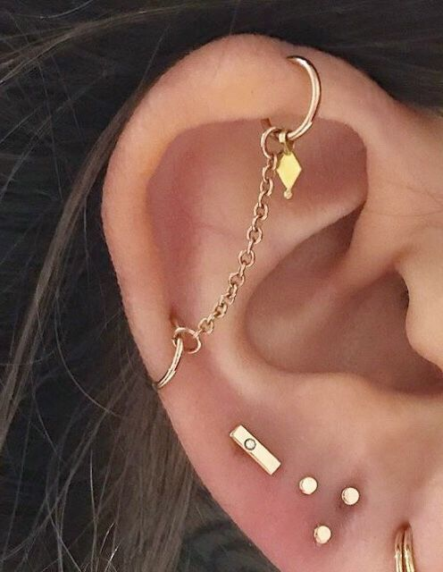 Industrial Piercing Jewelry Gold : industrial, piercing, jewelry, Industrial, Piercing, Chain, Jewellery, Earings, Piercings,, Piercings, Industrial,, Jewelry
