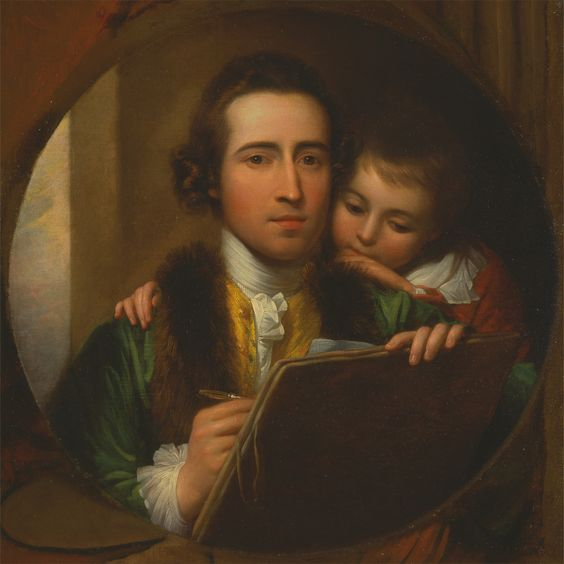"""The Artist and His Son Raphael"", 1773, Oil on canvas, painted by Benjamin West, 1738–1820, American, active in Britain (from 1763). Yale Center for British Art."