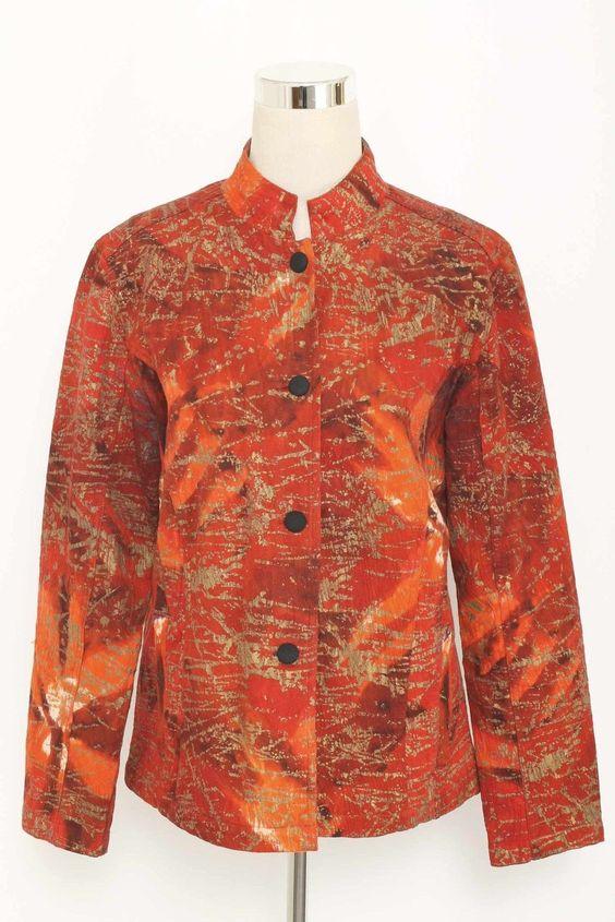 Chico's Red & Gold Mandarin Collar Cotton Blazer Size 1 (U.S.10) 1640 ST1115