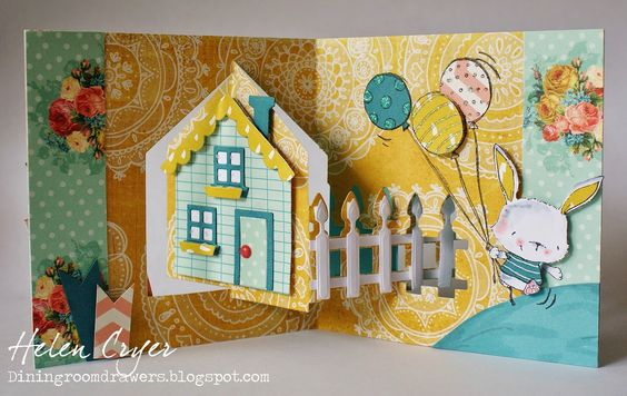 Helen Cryer using the Pop it Ups House Pivot Card by Karen Burniston for Elizabeth Craft Designs - The Dining Room Drawers: New Purple Onion Design Stamps & Pop It Ups House Pivot Card