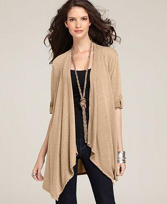 Style Sweater, Three-Quarter-Sleeve Roll Tab Cardigan - Tops - Women - Macys
